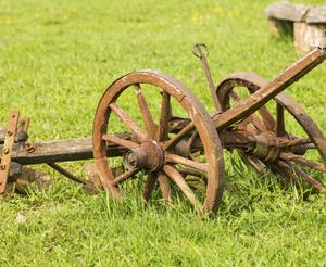 Old plough standing in the meadow