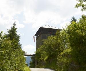 Burg Klammstein Aussichtsturm im Sommer