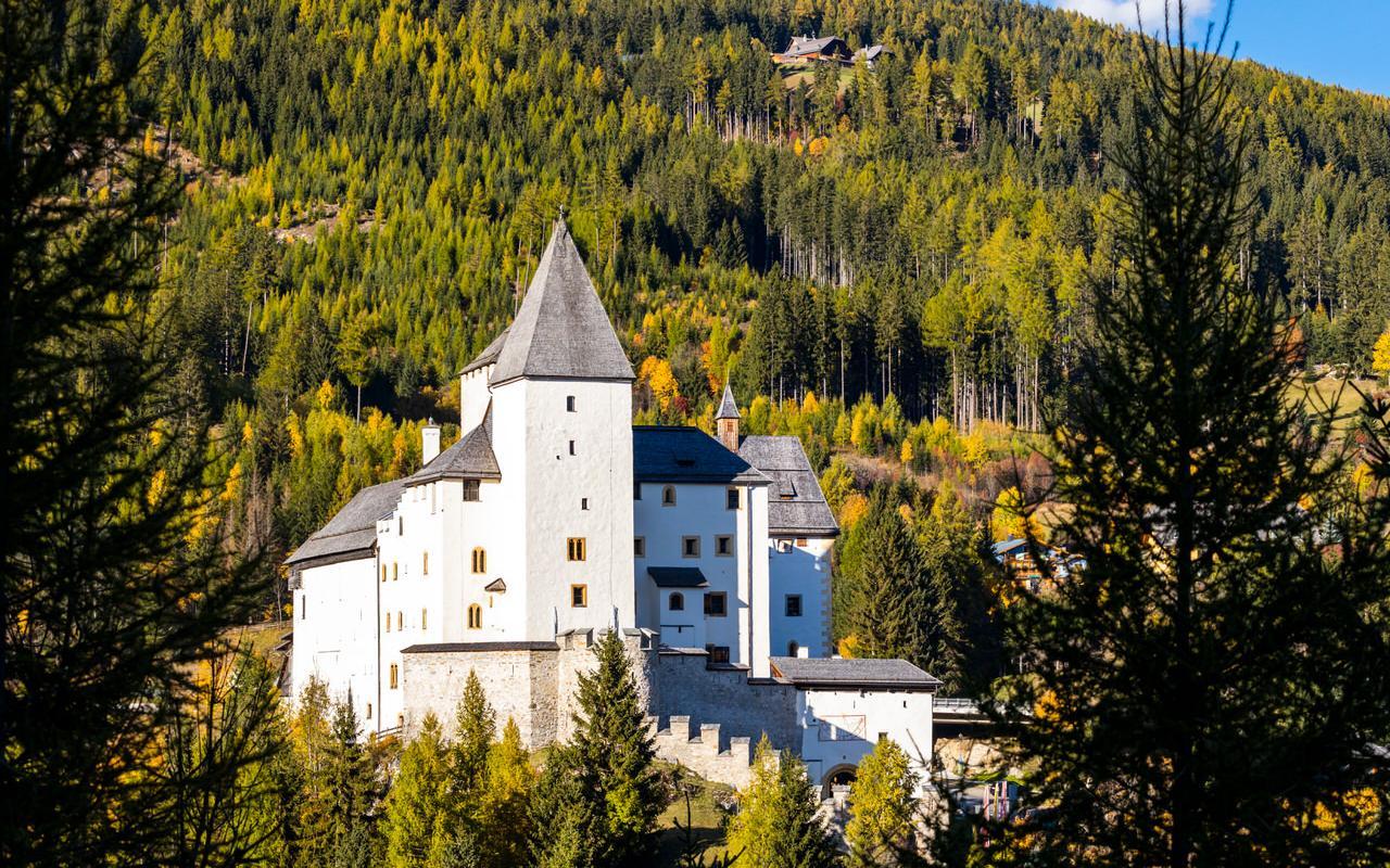 Burg Mauterndorf Ansicht Frontturm mit Seitengebaeuden im Sommer