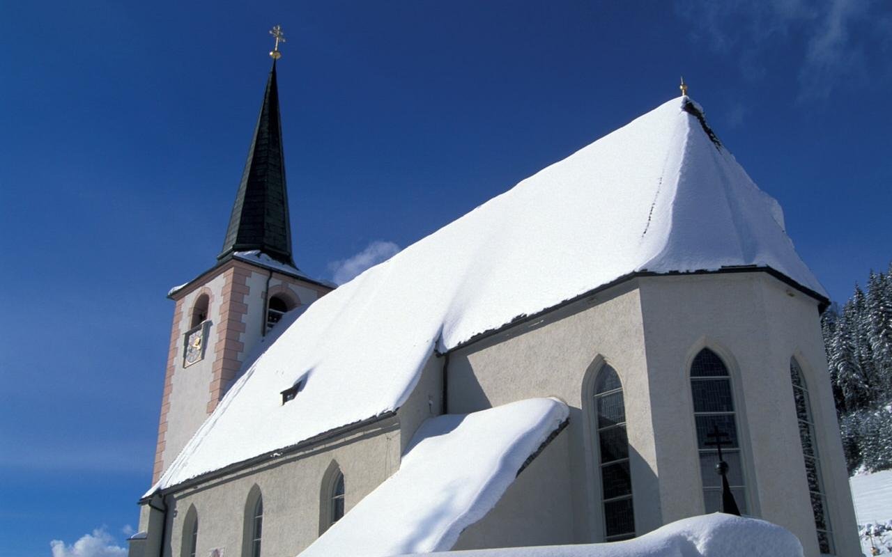 Church covered with snow
