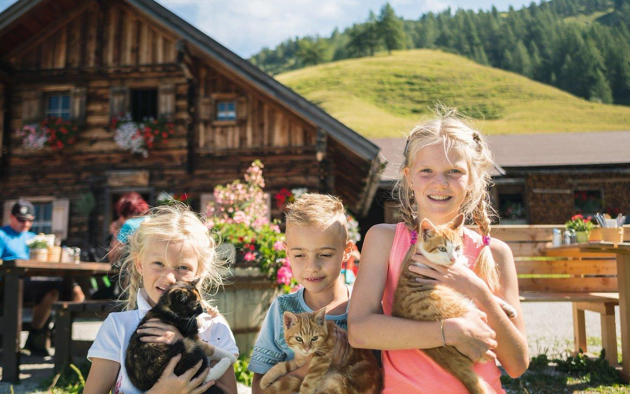 The petting zoo at the Sulzkaralm delights the children
