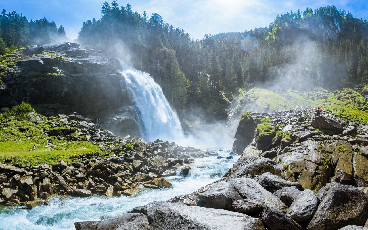Imposing waterfall in Krimml