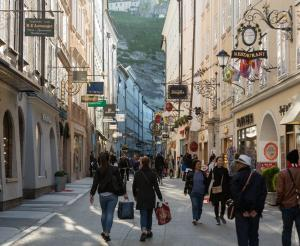 The Getreidegasse in Salzburg with visitors