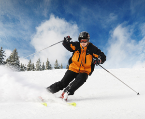 Skiers on the piste