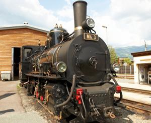 The steam engine of the Taurachbahn front view