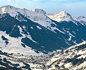 A view over Saalbach in winter
