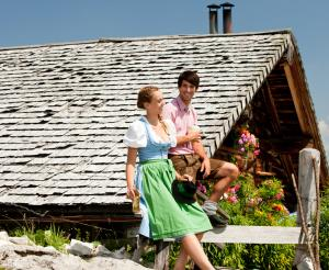 Traditional costume couple on the alp
