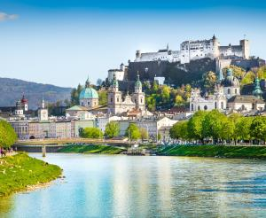 Fortress Hohen Salzburg with old town and cathedral