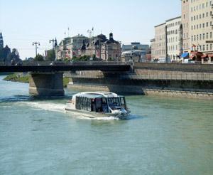City ship under state bridge