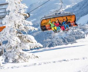 lustige Gruppe von Skifahrern im Schnee