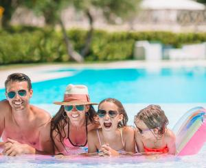 Family in the adventure pool
